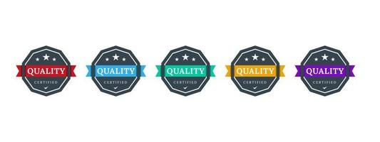 Quality certified logo badge design. QC icon template. Business certificate label checking. Vector illustration.