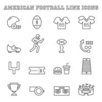american football line icons vector