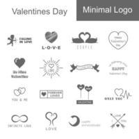 valentines day minimal logo vector