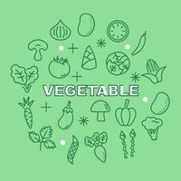 vegetable minimal outline icons vector