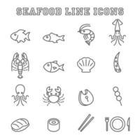 iconos de línea de mariscos