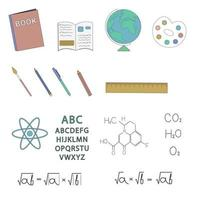 School objects and subjects linear set. Vector items.
