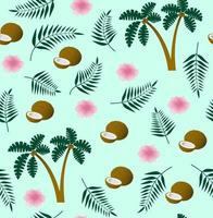 Seamless vector tropical pattern with coconut, palm leaves, palm tree and flower on blue background. Perfect for wallpaper, background, textile or wrapping paper.