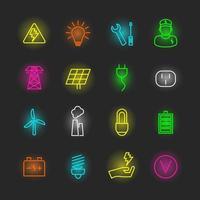 electricity neon icon set vector