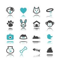 pet icons with reflection vector