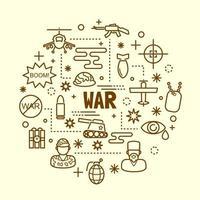 war minimal thin line icons set vector