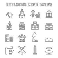iconos de línea de construcción vector