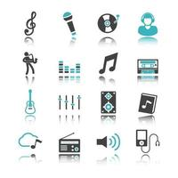 music icons with reflection vector