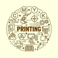 printing minimal thin line icons set vector