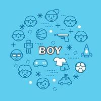 boy minimal outline icons vector