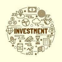 conjunto de iconos de delgada línea mínima de inversión vector