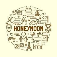honeymoon minimal thin line icons set vector