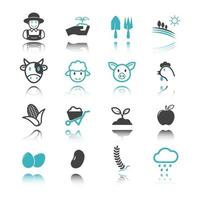 agriculture icons with reflection vector