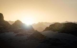 Golden hour on mountains photo