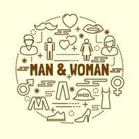 conjunto de iconos de línea fina mínima de hombre y mujer vector