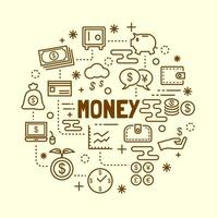 conjunto de iconos de delgada línea mínima de dinero vector