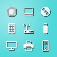 computer and device paper art icons vector
