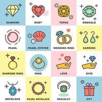 jewelry line icons set vector