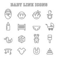 iconos de línea de bebé vector