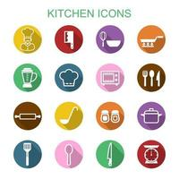 kitchen long shadow icons vector