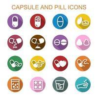 cápsula y píldora iconos de larga sombra vector