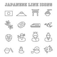 japanese line icons vector