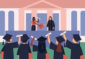 Graduates are awarded diplomas and scrolls vector
