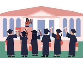 Graduates with diplomas and scrolls are listening to a graduation motivational parting words vector