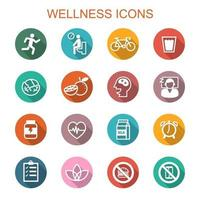 wellness long shadow icons vector