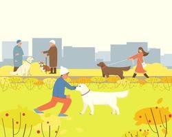 los perros están caminando en el parque de otoño vector