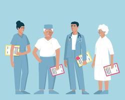 médicos de diferentes edades y géneros vector