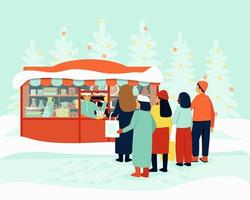 Queue at the kiosk for festive dishes vector