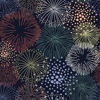 patrón sin costuras con coloridos fuegos artificiales vector