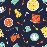 Utensils seamless pattern for children's games vector