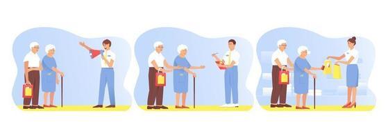 con una pareja de ancianos viajando y comprando. vector
