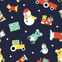Seamless pattern with children's toys on a dark background. Christmas gifts bear, cat, tractor, snowman. Pattern for baby fabric for the winter season. Flat vector illustration
