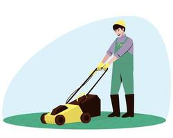 Male handyman character mowing grass vector