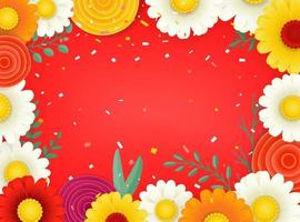 Vector frame with color flowers. Copy space for a text