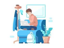 hombre trabajando en el sofa vector