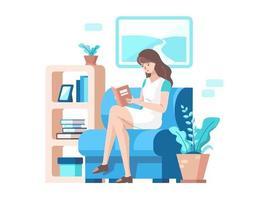 Woman Reading A Book vector