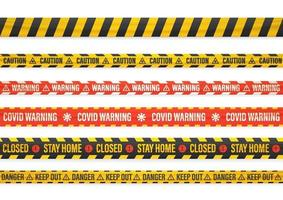 Different covid warning tape set isolated on white vector