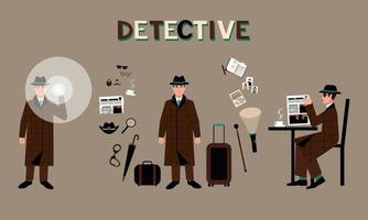 un conjunto de un detective con un sombrero con una linterna, en una cafetería, rodeado de accesorios vector