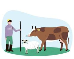 A shepherd leads a cow and a sheep to the pasture vector