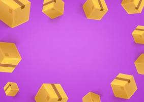 Purple wallpaper frame with boxes vector