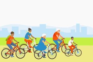 mamá, hijo, papá y abuelos andan en bicicleta vector