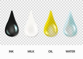 Different liquid drips vector clipart