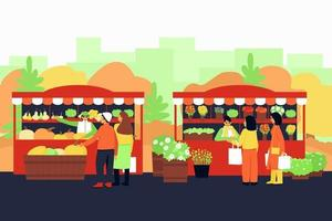 Autumn fair with vegetable and flower stalls vector