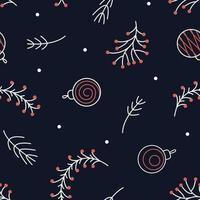 Seamless Christmas pattern from sprigs of pine, rowan and Christmas balls for fabric design vector