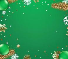 Top view winter holiday green background vector