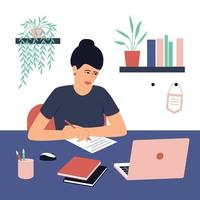 Student girl doing homework. A laptop and book are on the table. Concept for learning at home in isolation or doing homework. Flat vector illustration.